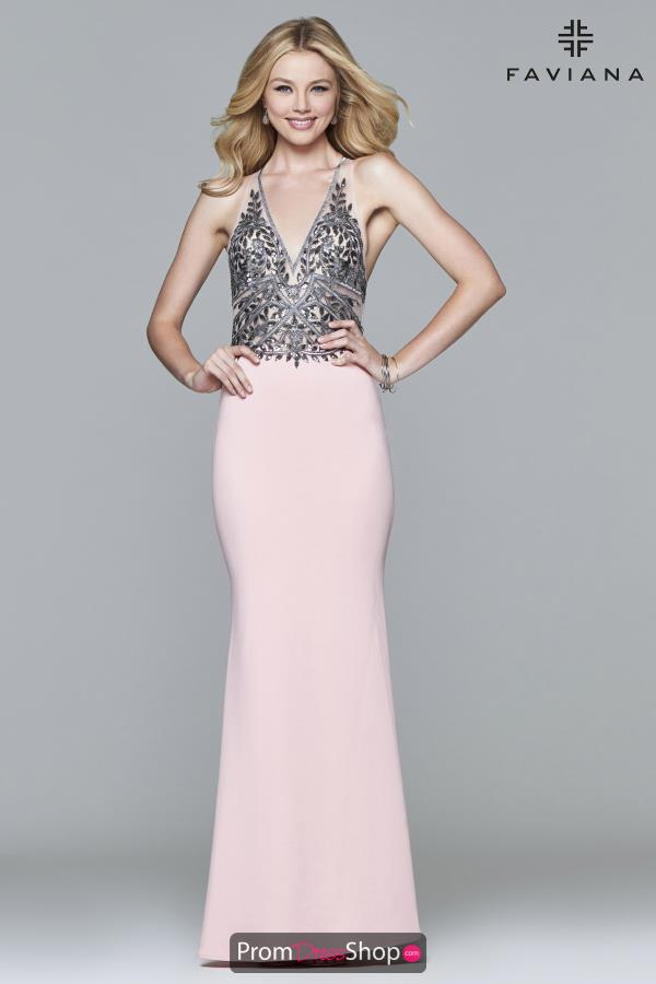 Faviana Fitted V Neckline Dress S7961