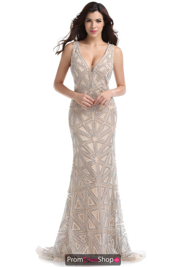 Romance Couture Nude Fitted Dress RM6062