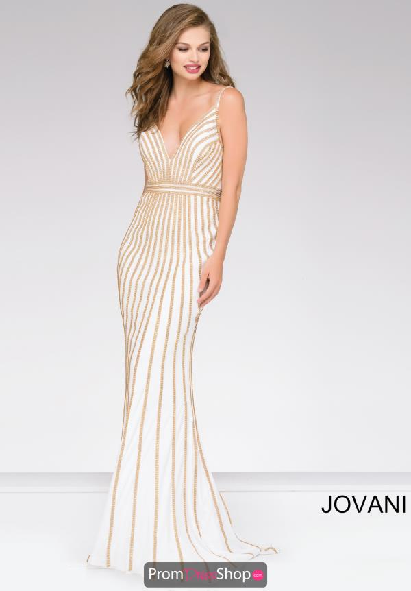 Jovani Fitted V Neck Dress 45898