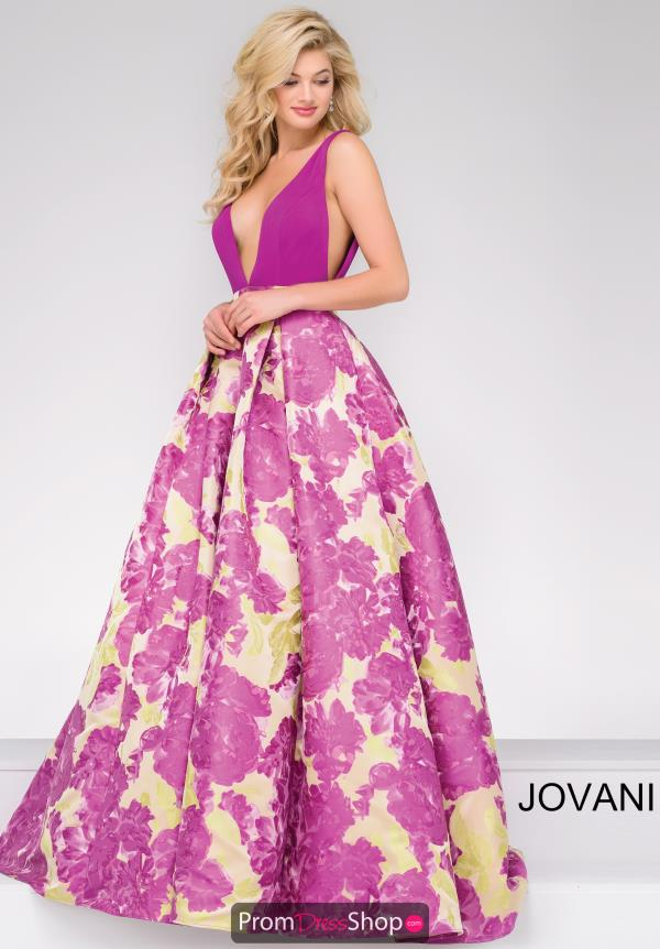 Jovani A Line V Neck Dress 48923