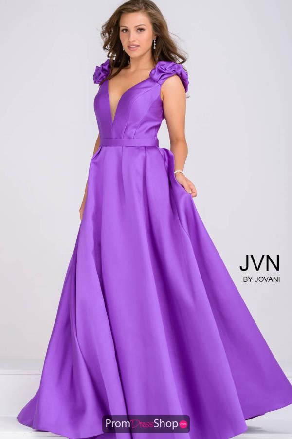 JVN by Jovani V- Neckline Taffeta Dress JVN88999