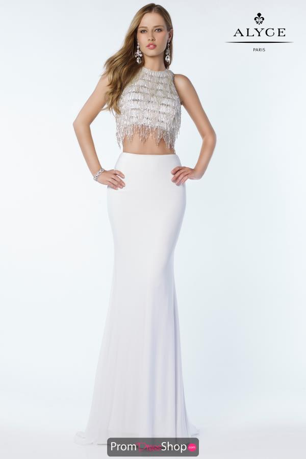 Alyce Paris Beaded Crop Top Dress 2604