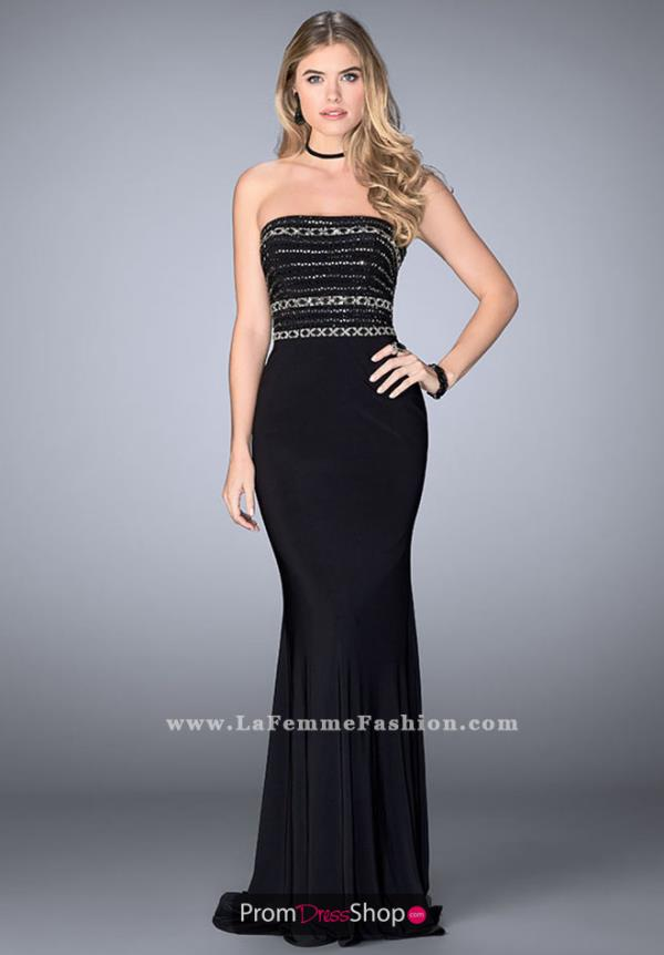 Gigi Fitted Long Black Dress 24573