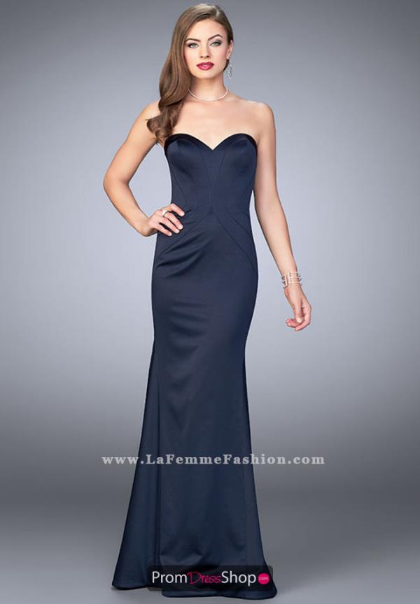 La Femme Long Fitted Dress 23197