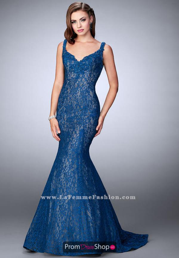 La Femme Fitted Lace Dress 23413