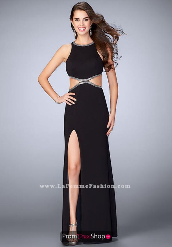 La Femme High Neckline Fitted Dress 23418