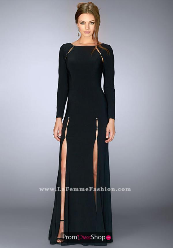 La Femme Black Fitted Dress 23479