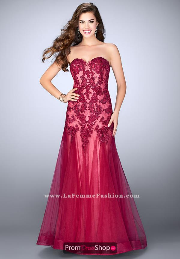 La Femme Fitted Beaded Dress 23578