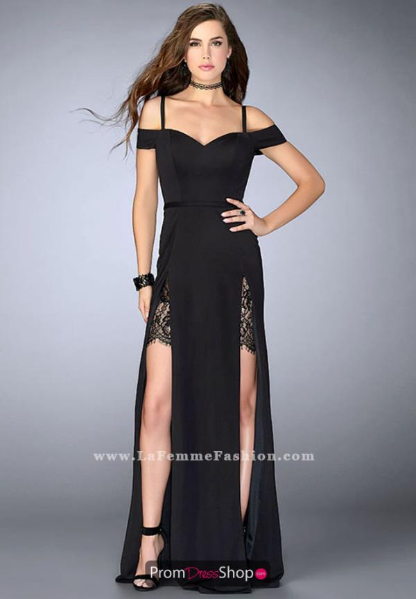 La Femme Black Long Dress 23607
