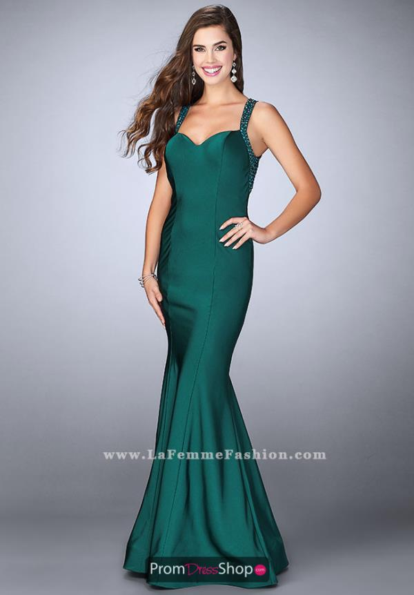 La Femme Long Jersey Dress 23625