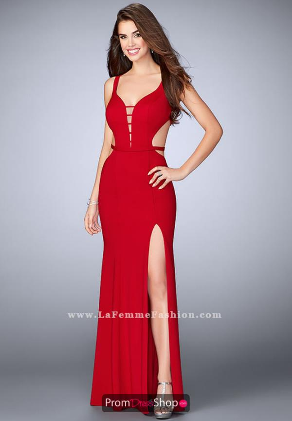 La Femme Jersey Fitted Dress 23631