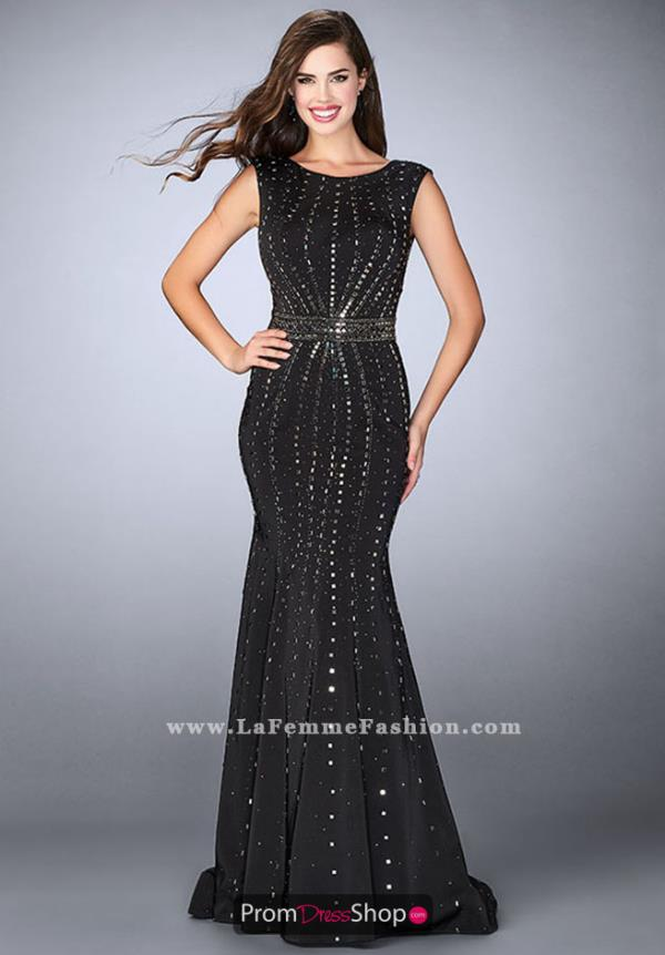 High Neckline Long La Femme Dress 23680