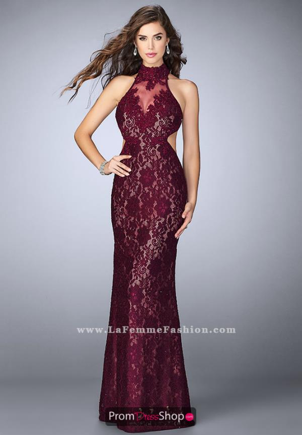 La Femme Beaded Fitted Dress 23732