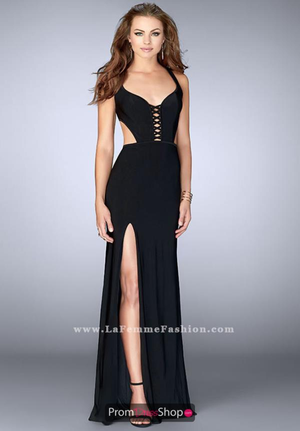 La Femme Jersey Fitted Dress 23823