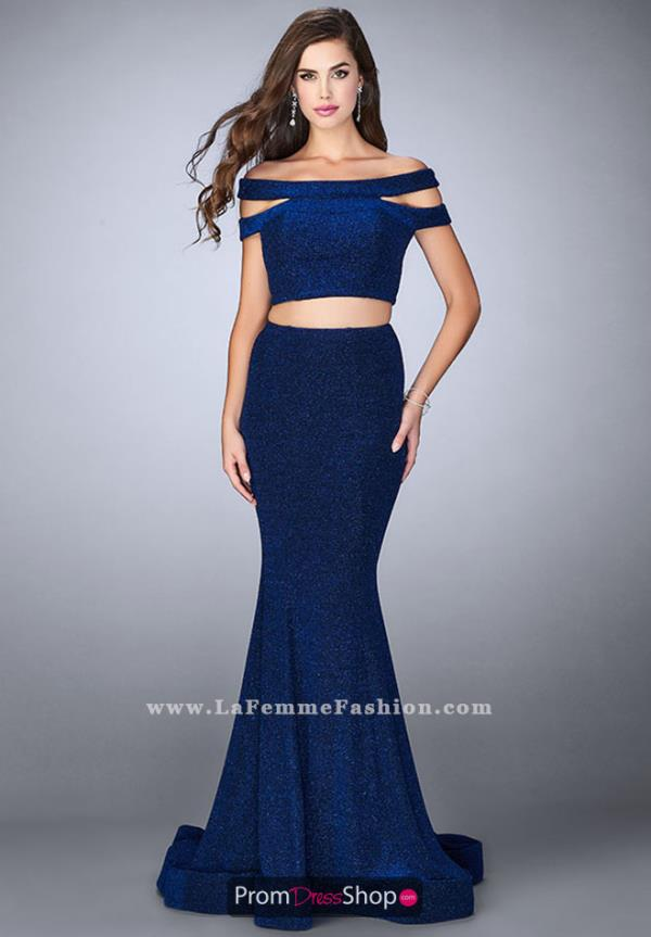 La Femme Off the Shoulder Two Piece Dress 23856