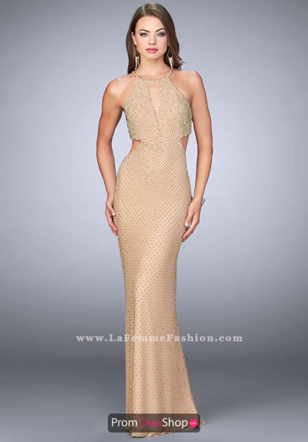 La Femme Open Back Fitted Dress 23941