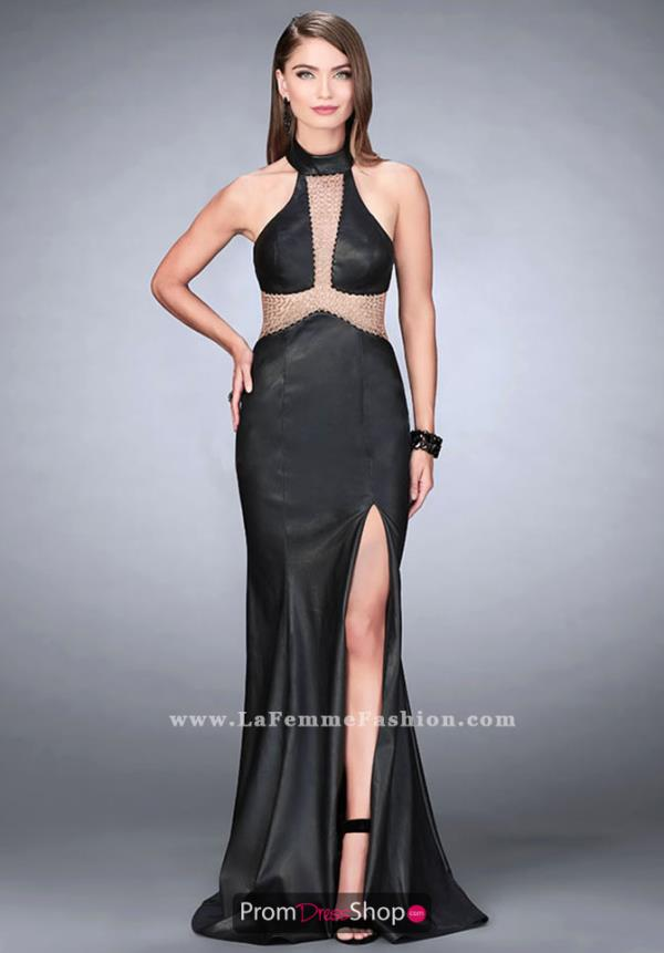 La Femme Halter Long Dress 24018