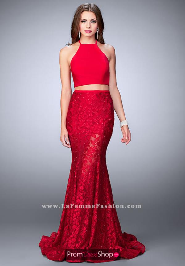 La Femme Halter Long Dress 24029