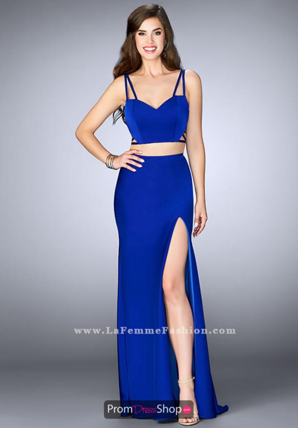 La Femme Fitted Long Dress 24030
