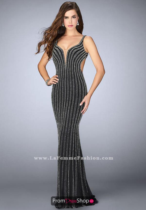 La Femme V-Neck Long Dress 24057
