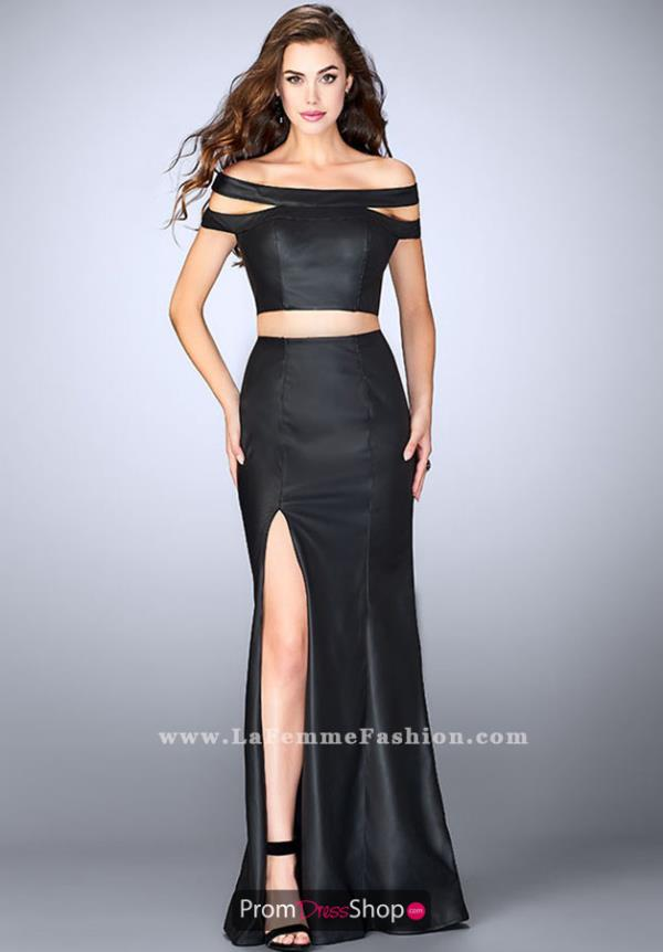 La Femme Black Off the Shoulder Dress 24109