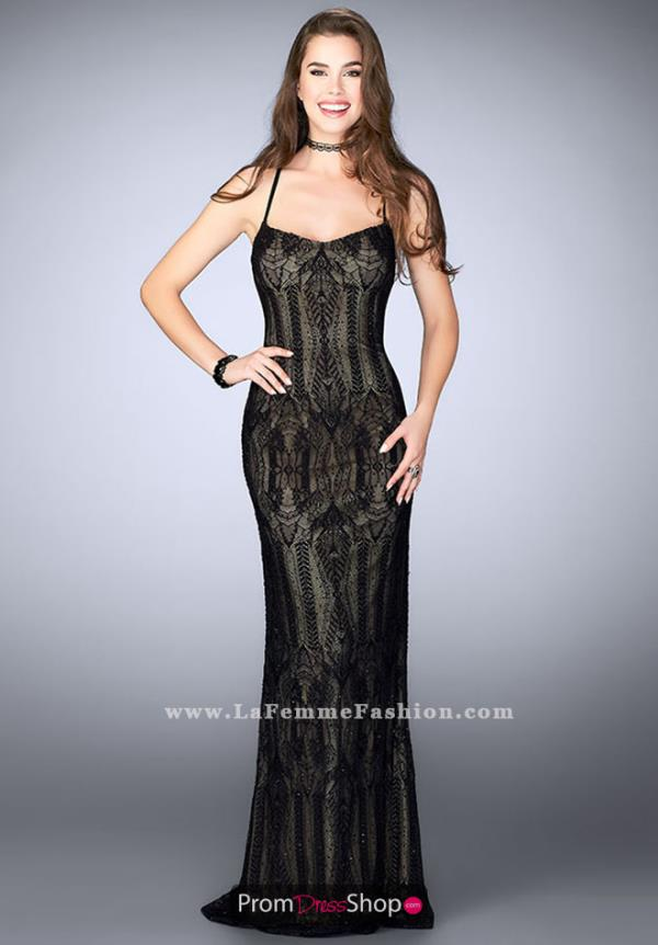 La Femme Long Black Dress 24131