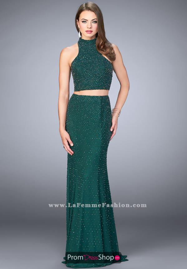 La Femme Long Two Piece Dress 24158