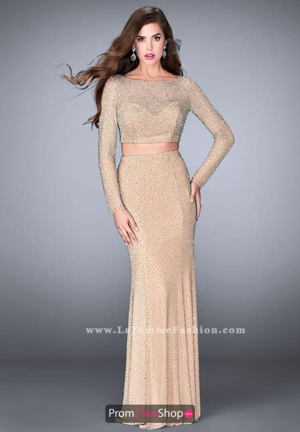 La Femme High Neckline Beaded Dress 24175