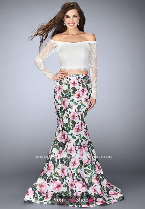 La Femme Off the Shoulder Mermaid Dress 24281