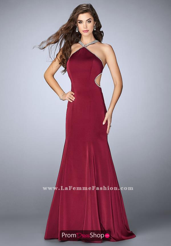 La Femme Halter Long Dress 24352