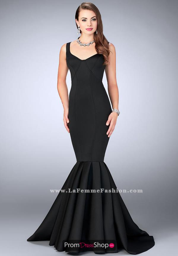 La Femme Neoprene Long Dress 24361