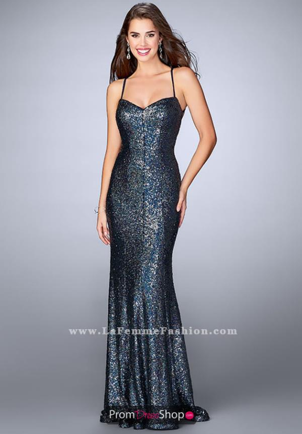 La Femme Opne Back Long Dress 24378