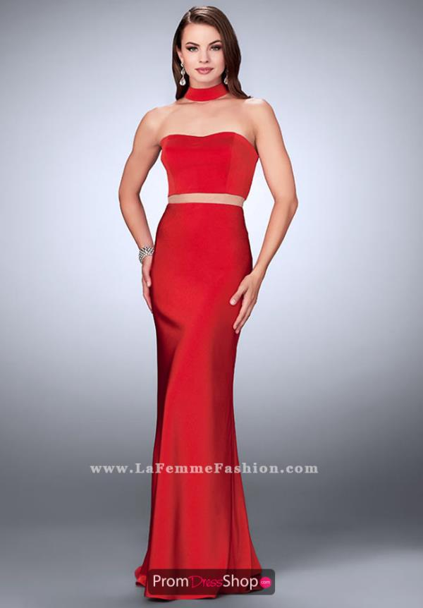 La Femme Long Fitted Dress 24379