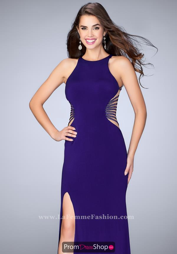 La Femme Fitted Long Dress 24432