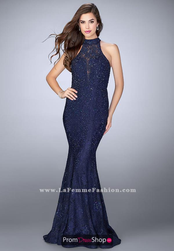 La Femme Halter Beaded Dress 24451