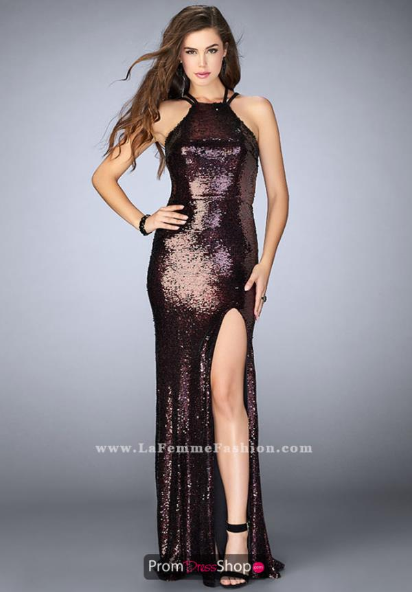 La Femme Long Fitted Dress 24497