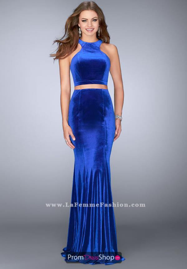 La Femme Fitted Velvet Dress 24599