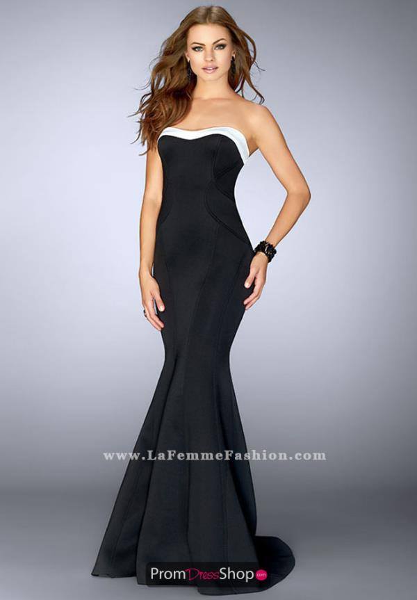 La Femme Black Fitted Dress 24715