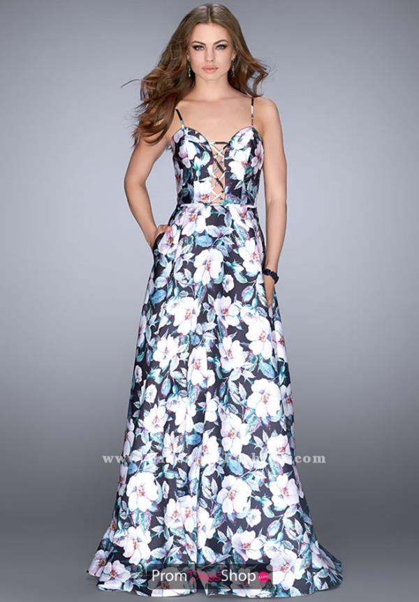 La Femme Floral Long Dress 24717