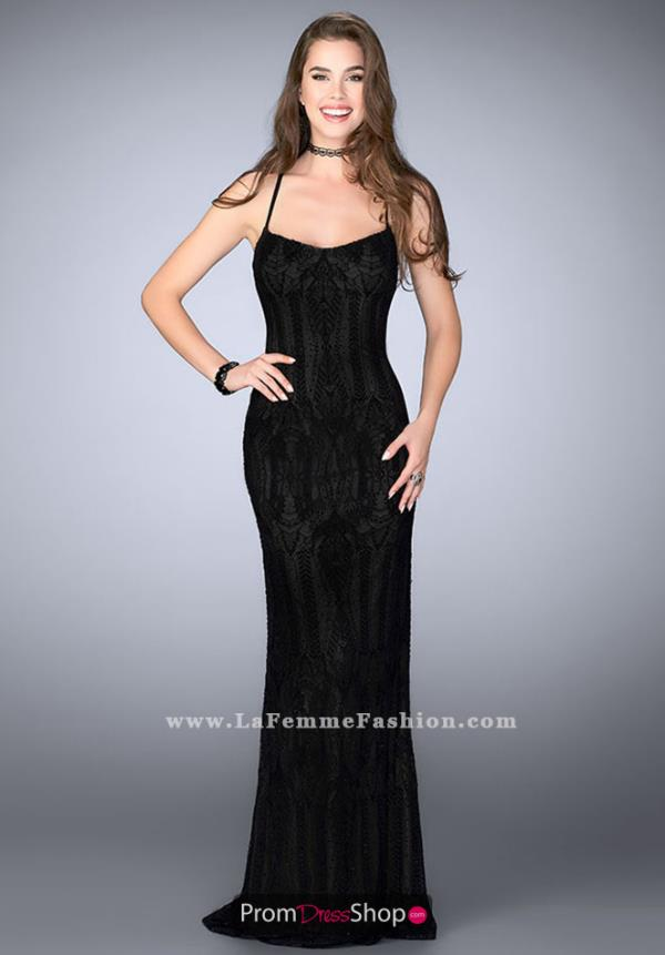 La Femme Long Lace Dress 24740