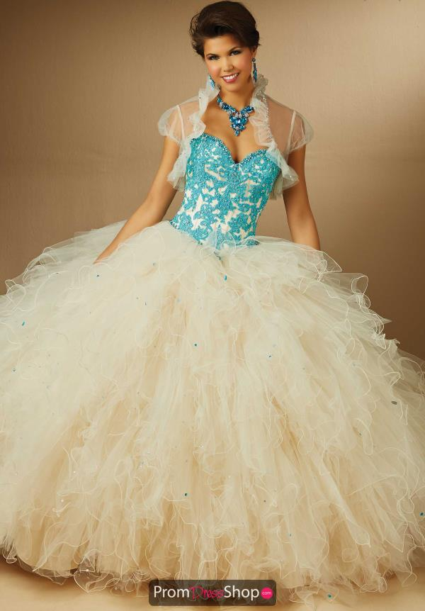 Vizcaya Quinceanera Ruffled Tulle Skirt Dress 89053