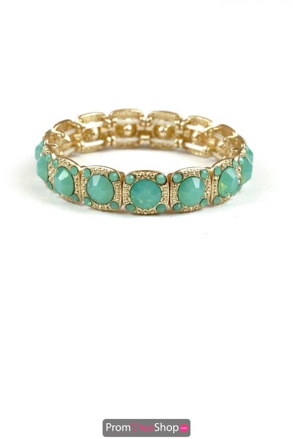 Stretchable Bracelet in Mint and Gold