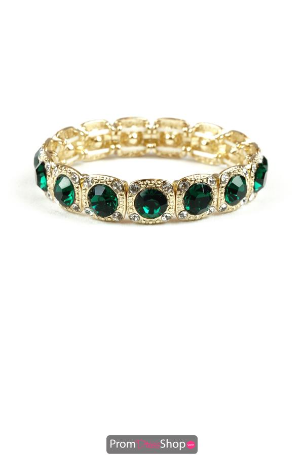 Stretchable Bracelet with Emerald and Gold
