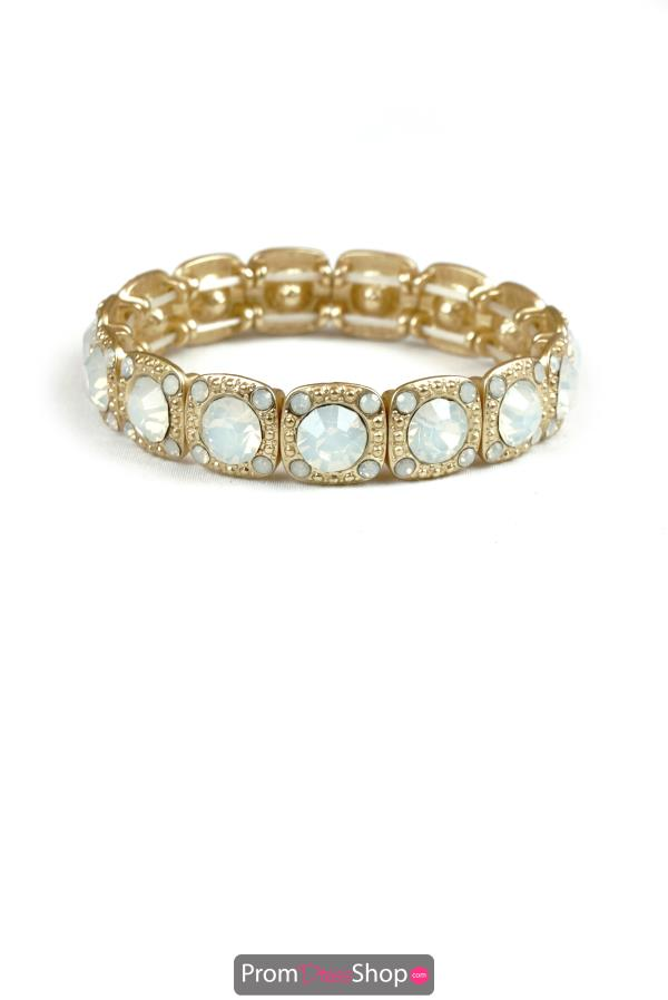 Stretchable Bracelet in Gold and Opal