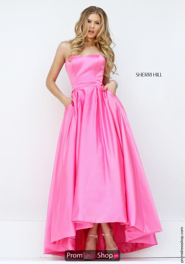 Satin High Low Sherri Hill Dress 50226