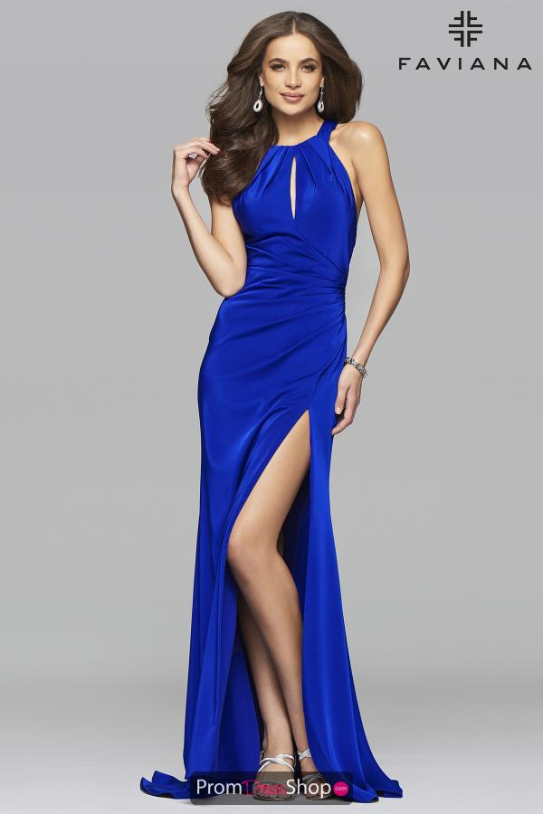 Satin Halter Neckline Faviana Dress 7890