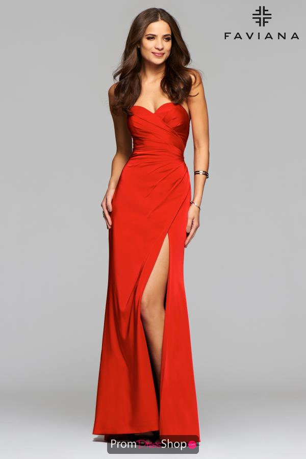 Faviana Sweetheart Neckline Satin Dress 7891