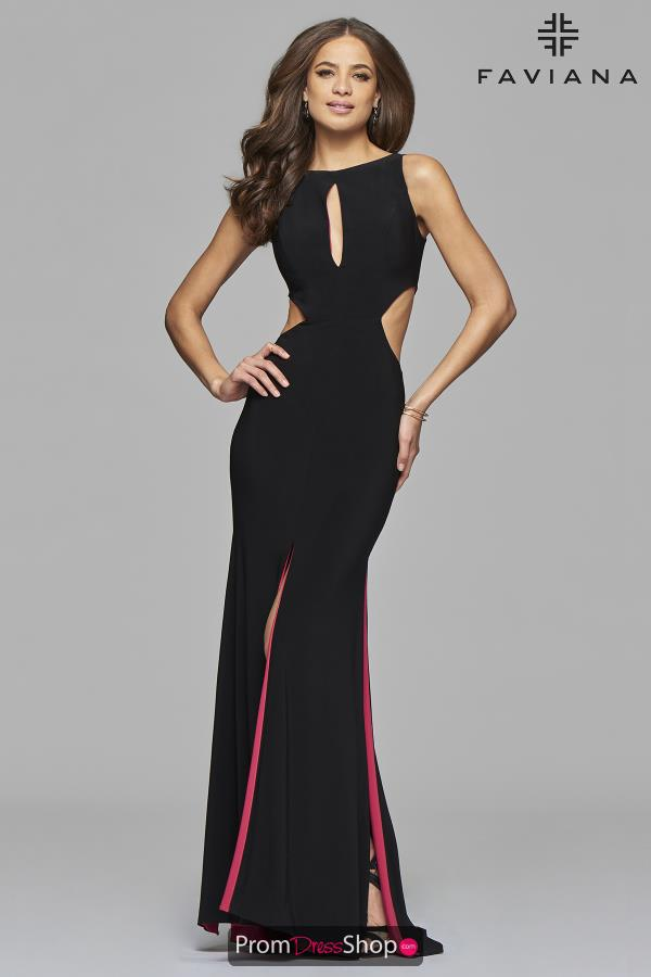 Faviana Fitted High Neckline Dress 7897