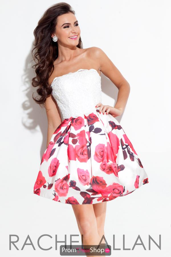 Strapless Print Rachel Allan Dress 4202