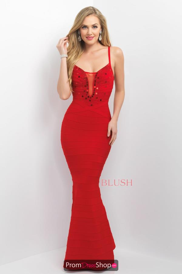 Long Fitted Blush Dress 11143